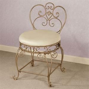 Aldabella, Satin, Gold, Upholstered, Vanity, Chair