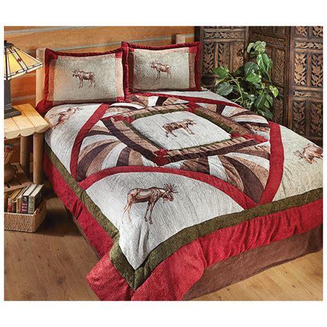 castlecreek 174 chenille moose comforter set 421012