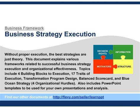 Guide To Business Strategy Execution (powerpoint