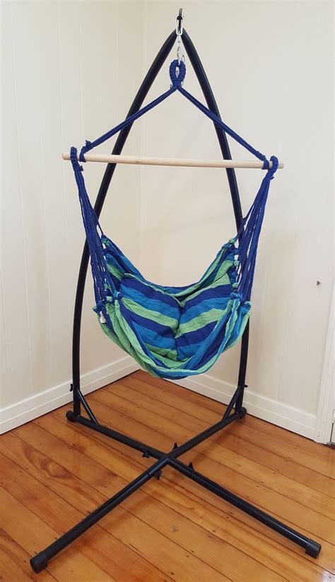 blue padded hammock chair  pillows  stand heavenly hammocks
