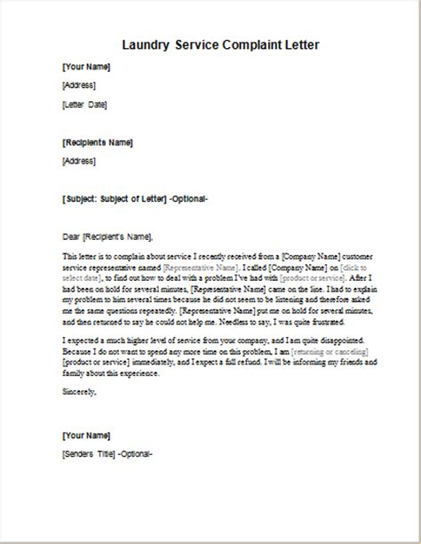 laundry service complaint letter word excel templates
