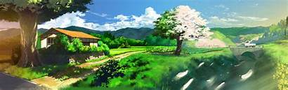Monitor Dual Anime Screen Wallpapers Landscape Nature