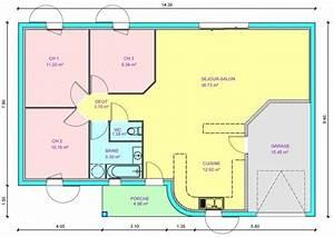 plan de maison plein pied gratuit 3 chambres plan maison With plan de maison plain pied 3 chambres gratuit
