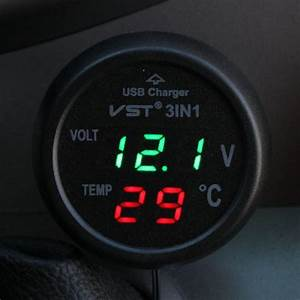 3 In 1 Digital Led Car Voltmeter Thermometer Auto Car Usb