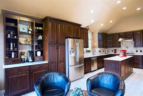 houzz kitchen lighting traditional alder kitchen with island and coffee center 1732