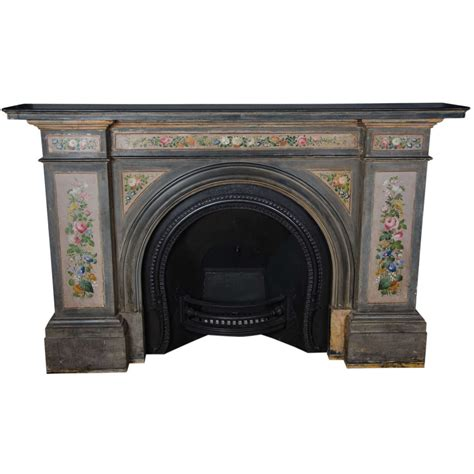 Antique Early Victorian Hand Painted Slate Arched