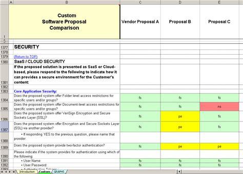 comparison template custom software evaluation