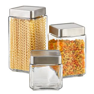 kitchen storage container set set of anchor hocking glass brushed aluminum canisters 6154