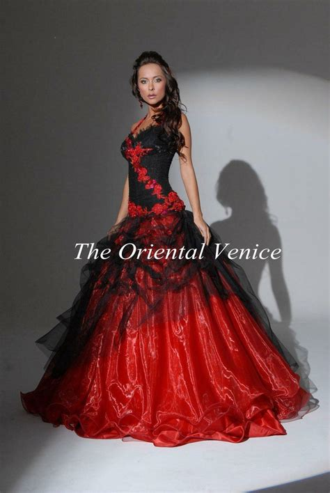 red and black gothic wedding dress ball gown halter