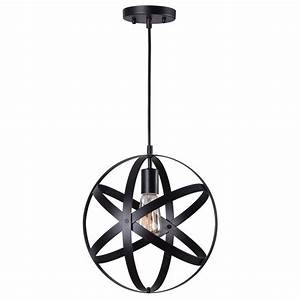 Home Decorators Collection 1-Light Black Orb Mini Pendant