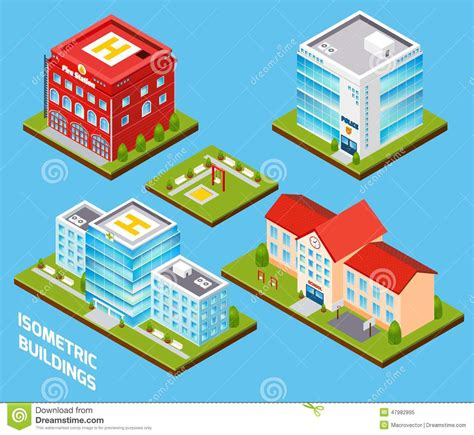 government buildings set stock vector image
