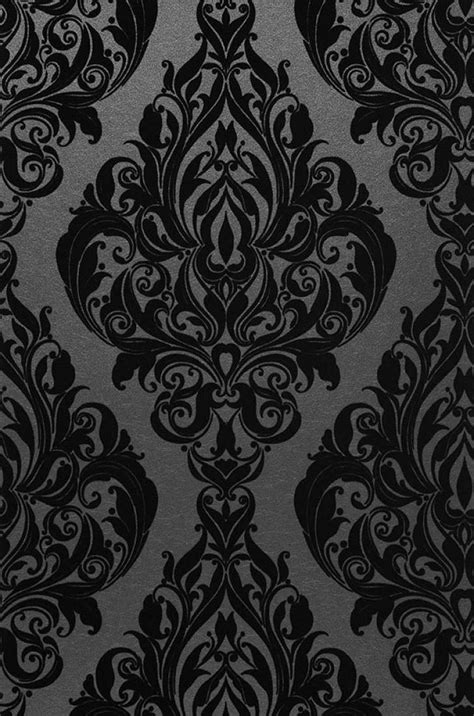 eshara anthracite noir papier peint baroque motifs