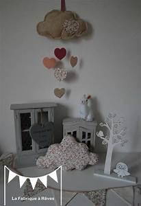 Decoration Nuage Chambre Bébé : d coration chambre enfant b b fille liberty nuage toile guirlande fanions mobile coussin nuage ~ Teatrodelosmanantiales.com Idées de Décoration