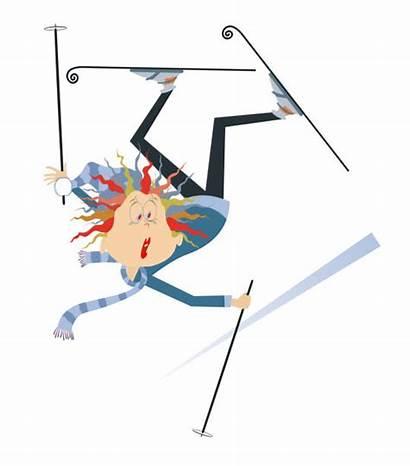 Falling Skier Cartoon Skiunfall Clipart Frau Illustrations