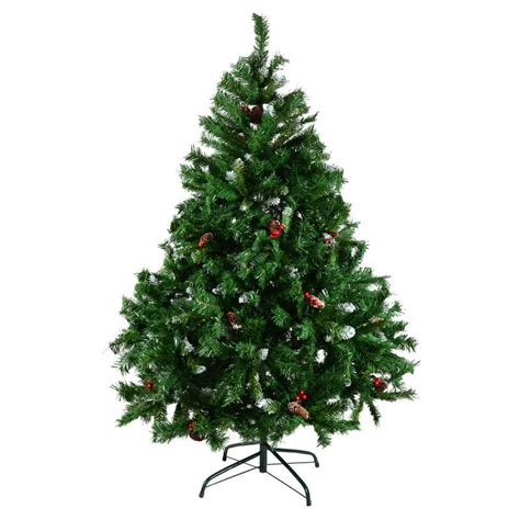 4 ft cone berry snow tip tree 6ft green mix tip tree with snow tip berries cones
