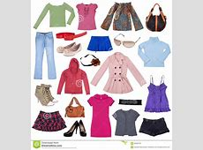 Different Female Clothes, Shoes And Accessories Stock