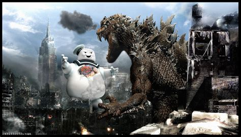 Godzilla Vs The Stay Puft Marshmallow Man By Rabittooth On