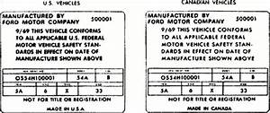 Ford 1970 - 1972 Door Data Plate Diagram