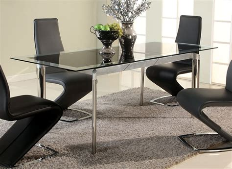 Black Dining Table by Black Glass Extendable Dining Table With Chrome Legs