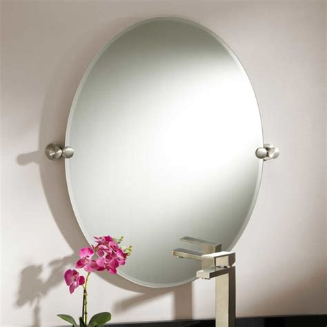 31 quot prague oval tilting mirror modern bathroom mirrors