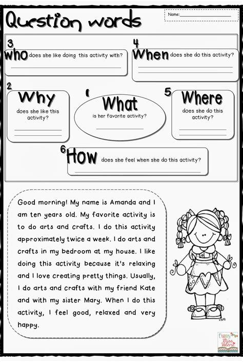 question words worksheet search results