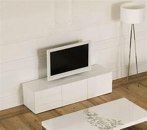 Meuble Blanc Laqué Tv : temahome glare meuble tv avec tiroirs et portes laque blanc brillant ~ Teatrodelosmanantiales.com Idées de Décoration