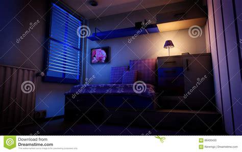Kids Bedroom At Night Stock Illustration. Illustration Of
