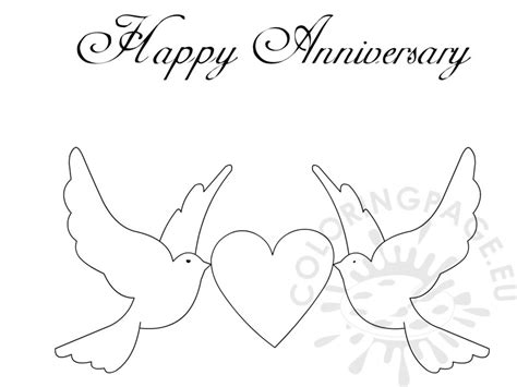 happy anniversary doves  heart card coloring page