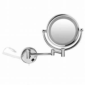 Miroir Grossissant X10 : achat floureon 8 5 pouces led miroir mural grossissant x10 ~ Carolinahurricanesstore.com Idées de Décoration