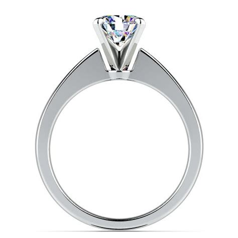 flat taper solitaire engagement ring in white gold