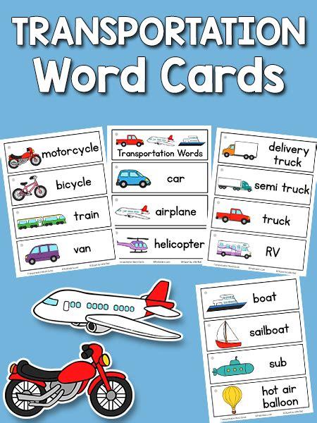 transportation word cards prekinders