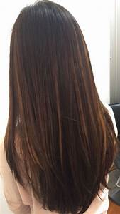 The Gallery For Gt Highlights In Dark Brown Straight Hair
