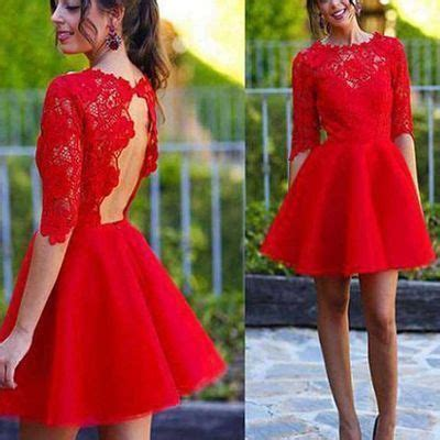 Blush red half sleeve see through lace open back charming ...