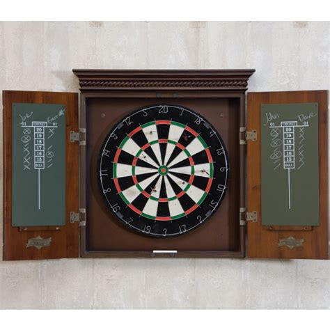 the cavalier dart board cabinet in set in an mocha finish with tournament quality bristle board