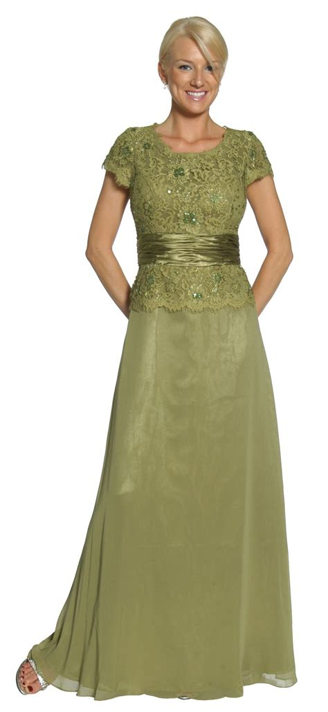 olive green mother  bridegroom dress evening chiffon