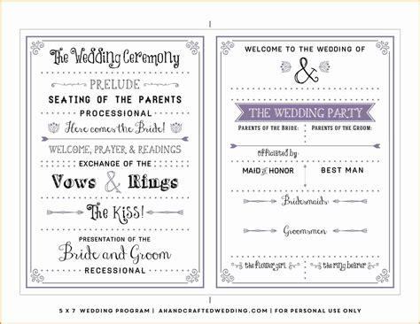 page wedding program templates  microsoft word
