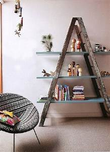 Upcycled, Ladder, Into, Shelves