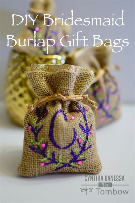 diy bridesmaid monogram burlap gift bag tombow usa blog