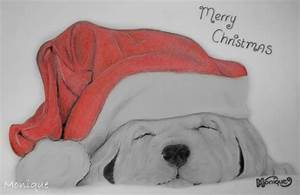 Drawing - Christmas Puppy by Monique-Art on DeviantArt