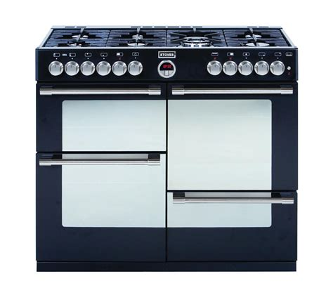 buy stoves sterling r1000dft dual fuel range cooker black free delivery currys