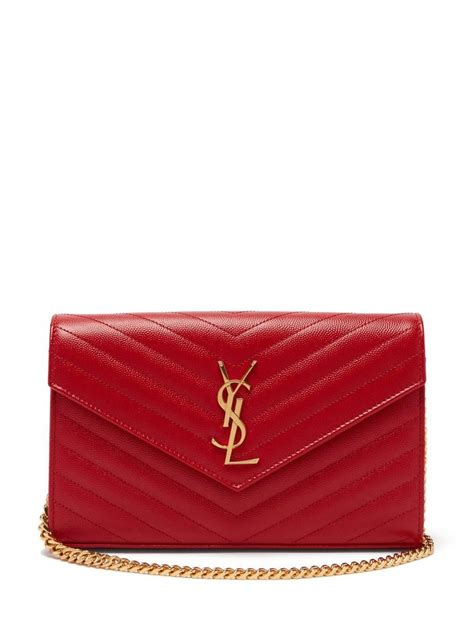 saint laurent classic ysl monogram quilted leather red leather cross body bag tradesy