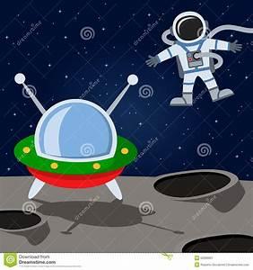 Astronaut & Alien Spacecraft On The Moon Stock Vector ...