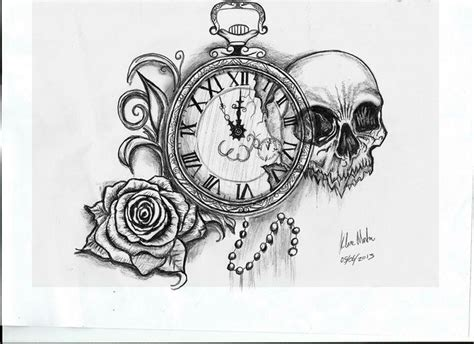 skull rose pocket  tattoo drawing ink pinterest tattoo drawings pocket watches