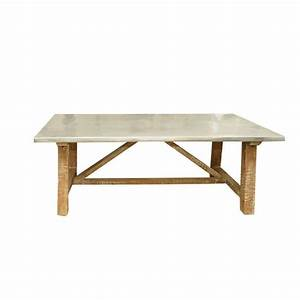 zinc top distressed wood coffee table at 1stdibs With distressed wood coffee table set
