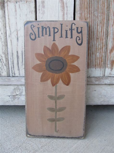 primitive sunflower  stem summer fall hand painted wooden sign