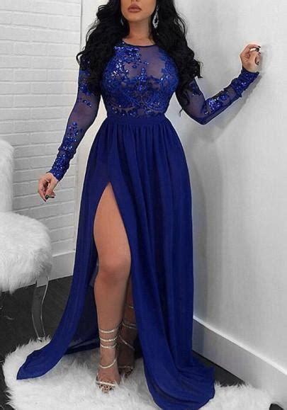 Sparkling A Line Royal Blue Evening Dress Long Sleeve Lace