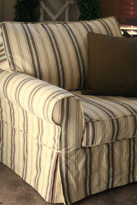 Oversized Chair Slipcover by Custom Slipcovers By Shelley Striped Oversized Chair