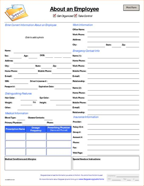 employee information form pdf 13 customer information form template