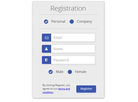 registration form css design code form template collection