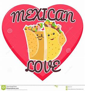 I Love Taco. Heart And Traditional Mexican Food. Tortilla ...